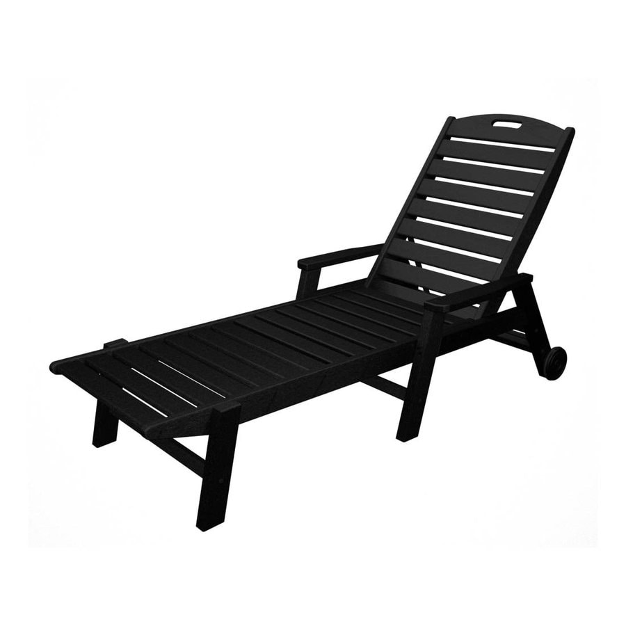 Shop polywood nautical black plastic patio chaise lounge for Black outdoor chaise lounge