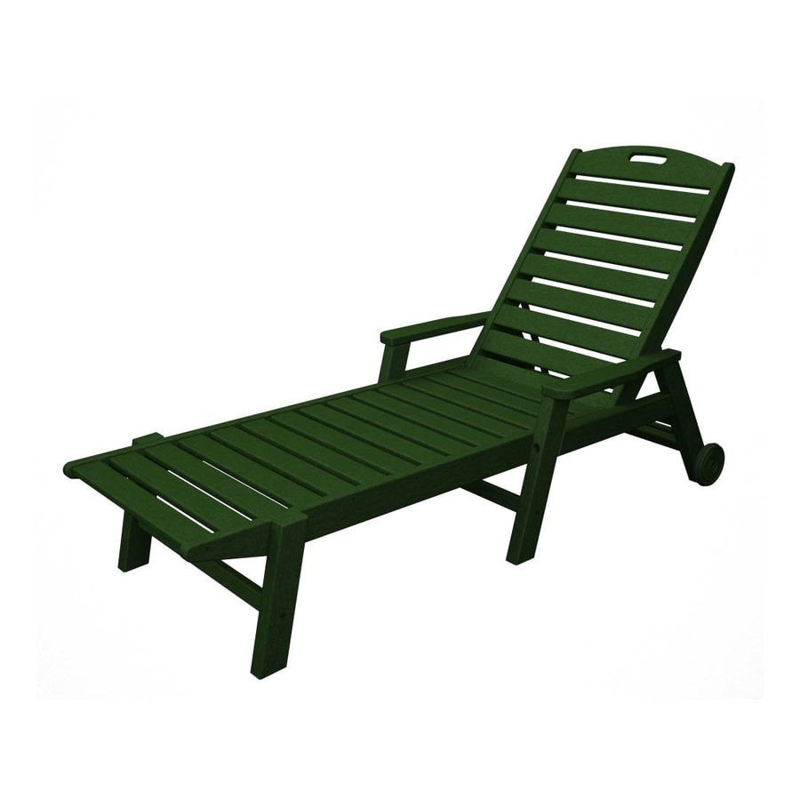 POLYWOOD Nautical Green Plastic Patio Chaise Lounge Chair