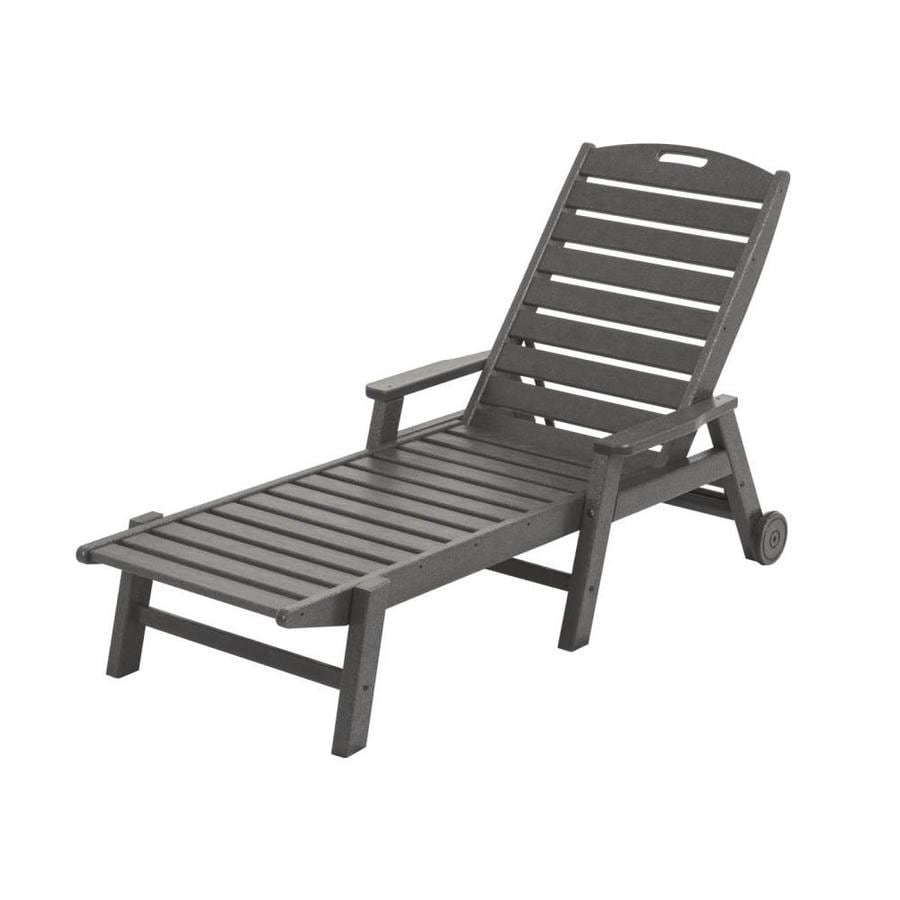 Shop POLYWOOD Nautical Slate Grey Plastic Patio Chaise Lounge Chair At