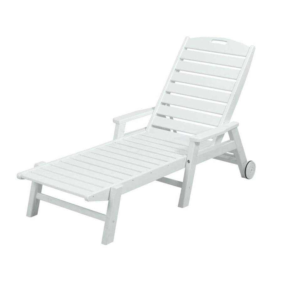 Shop polywood nautical white plastic patio chaise lounge chair at