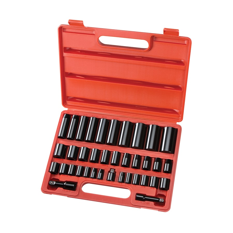 TEKTON 38-Piece 1/2-in and 3/8-in Drive Standard/Metric 6-Point Impact Socket Set with Case