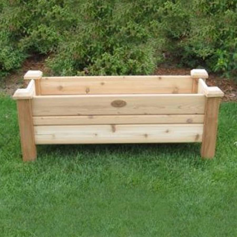 Patio Backyard Cedar Garden Planter: Gronomics 48-in W X 19-in H Natural Red Rustic Cedar