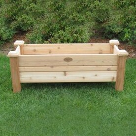 Shop pots planters at lowes gronomics 48 in w x 19 in h natural red rustic cedar raised planter workwithnaturefo