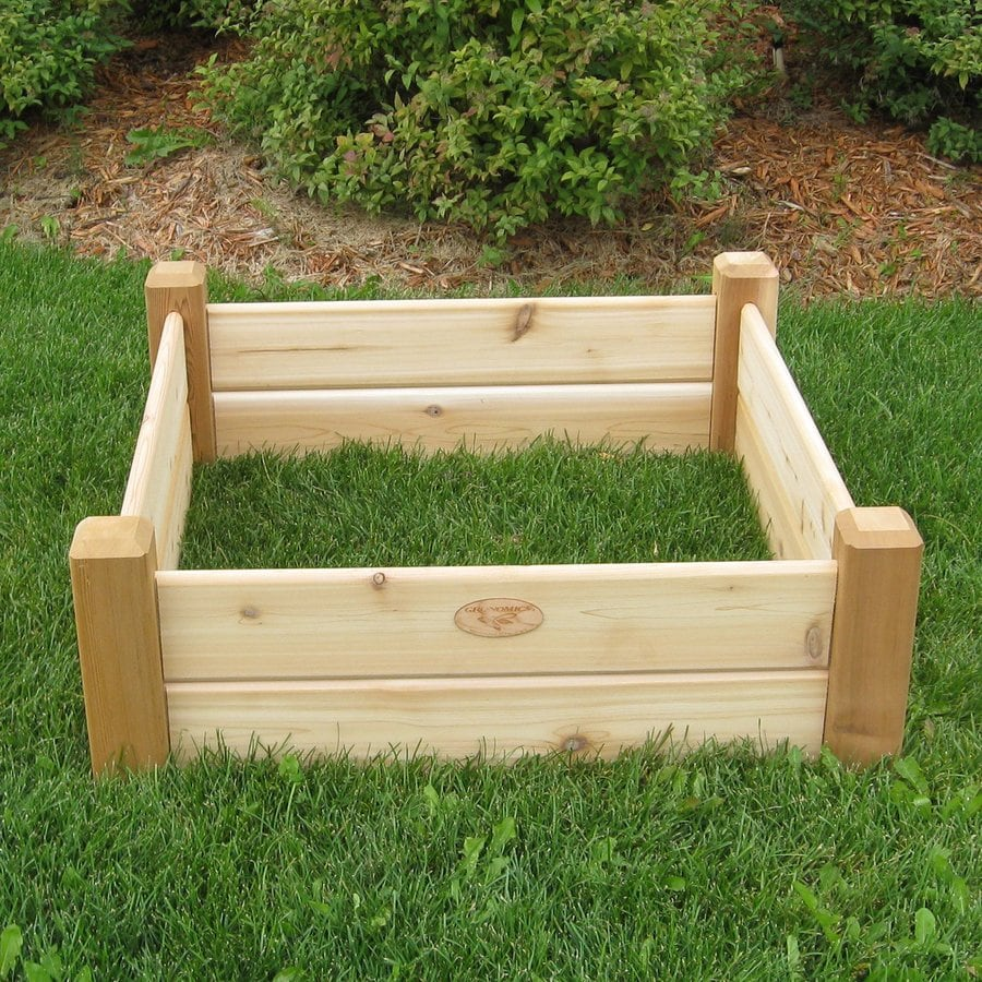 Shop gronomics 34 in w x 34 in l x 13 in h natural cedar Raised garden beds