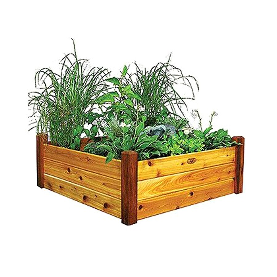 Gronomics 48-in W x 48-in L x 19-in H Safe Stain Cedar Raised Garden Bed