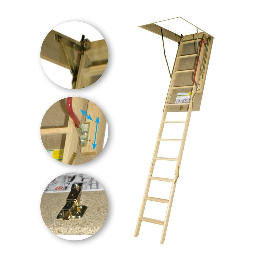 FAKRO 53.5-ft Wood 300-lb Attic Ladder