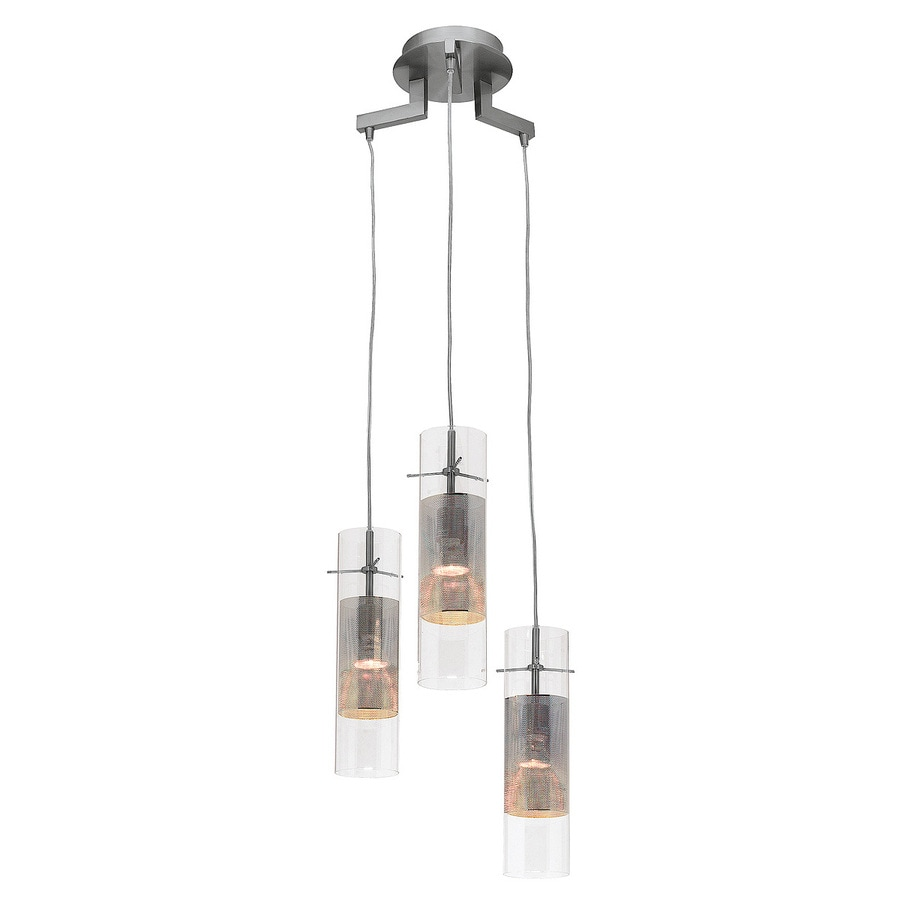 Access Lighting Spartan 10-in Brushed Steel Industrial Multi-Light Clear Glass Cylinder Pendant