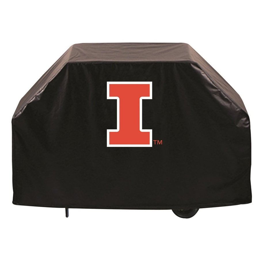 Holland 60-in x 36-in Black Vinyl University of Illinois Fighting Illini Grill Cover Fits Most Universal