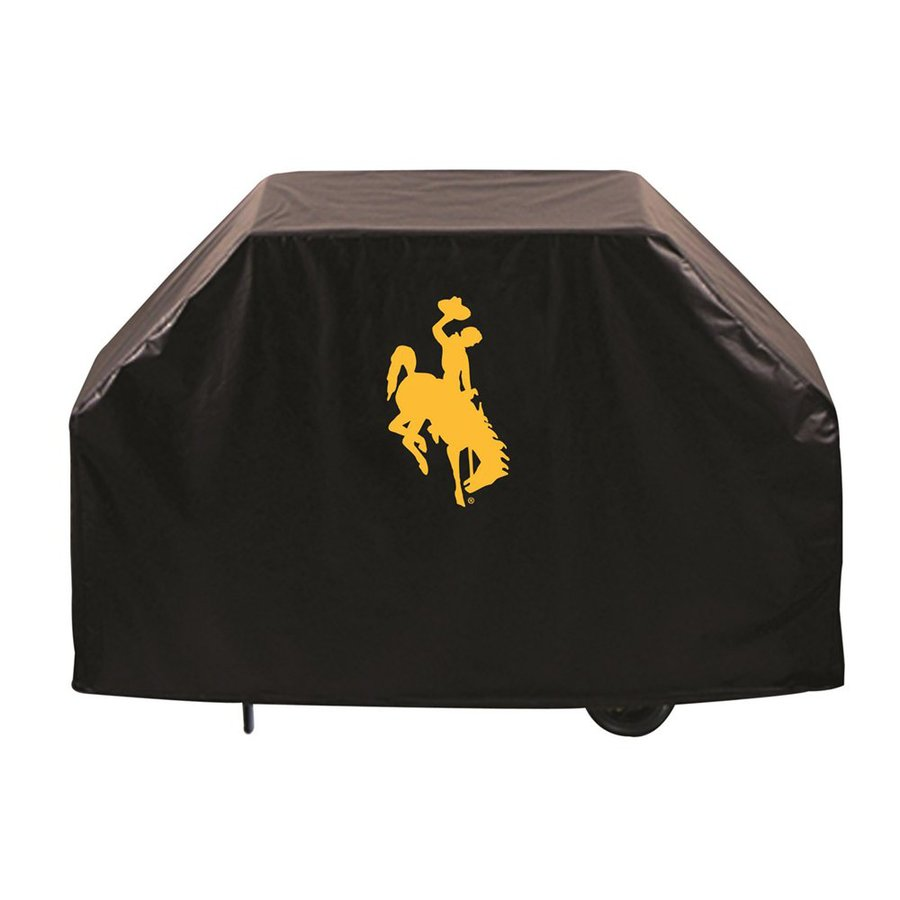 Holland 72-in x 36-in Black Vinyl University of Wyoming Cowboys Grill Cover Fits Most Universal