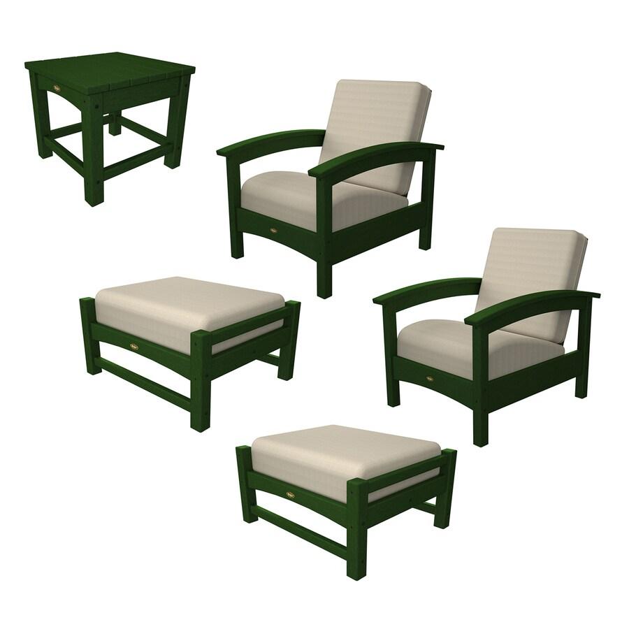 shop trex outdoor furniture rockport 5 piece plastic patio
