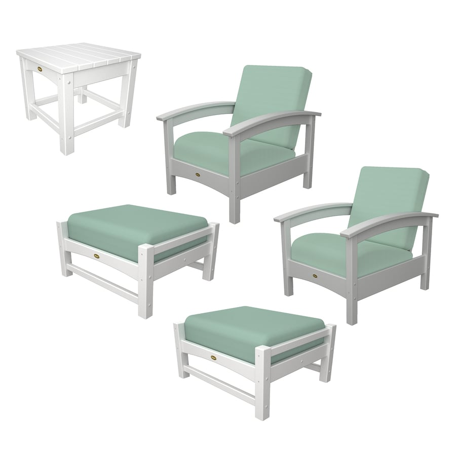 Shop Trex Outdoor Furniture Rockport 5 Piece Plastic Patio Conversation Set At