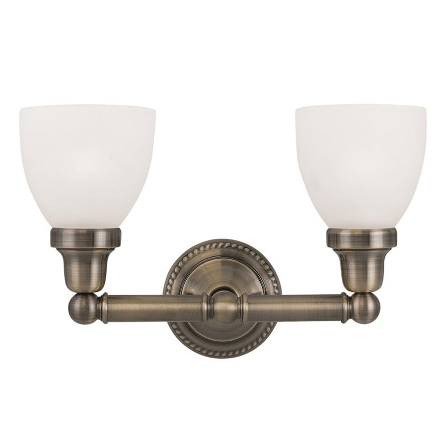 Livex Lighting Classic 2-Light 10-in Antique Brass Bell Vanity Light