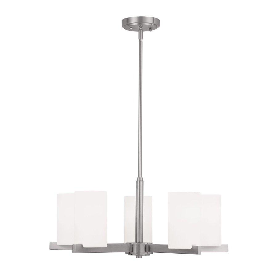 Livex Lighting Astoria 25-in 5-Light Brushed Nickel Shaded Chandelier