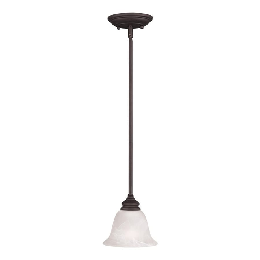 Livex Lighting Essex 6.25-in Bronze Mini Alabaster Glass Bell Pendant