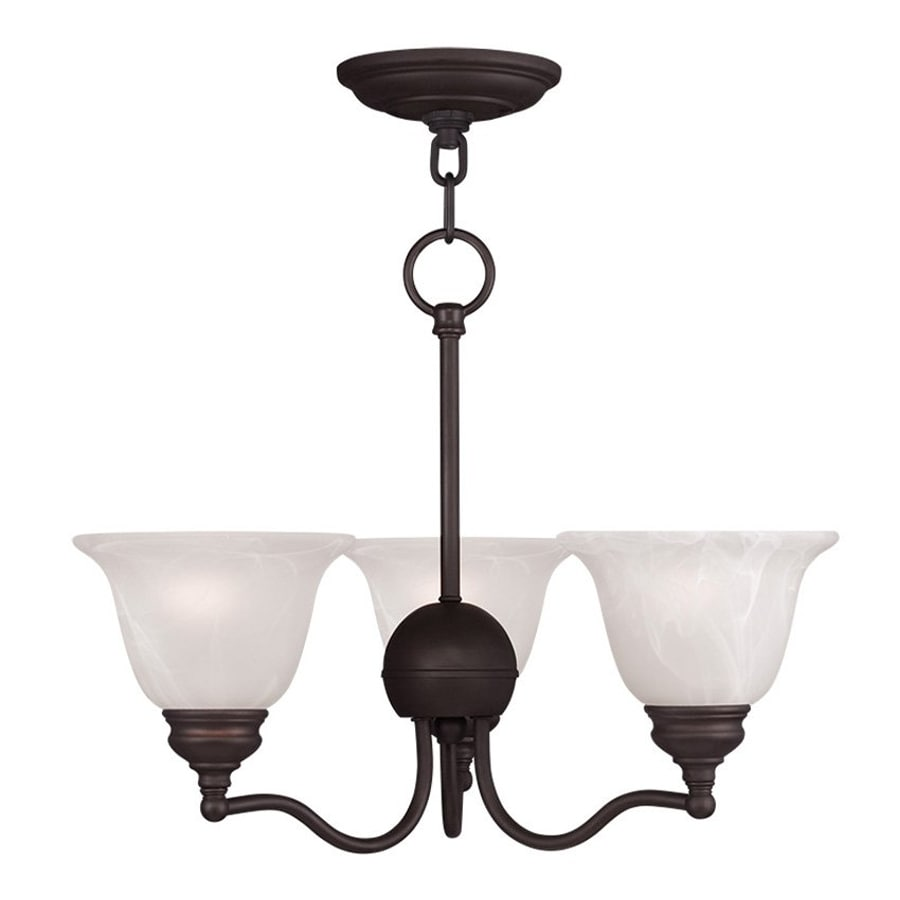 Livex Lighting Essex 20-in 3-Light Bronze Country Cottage Alabaster Glass Shaded Chandelier