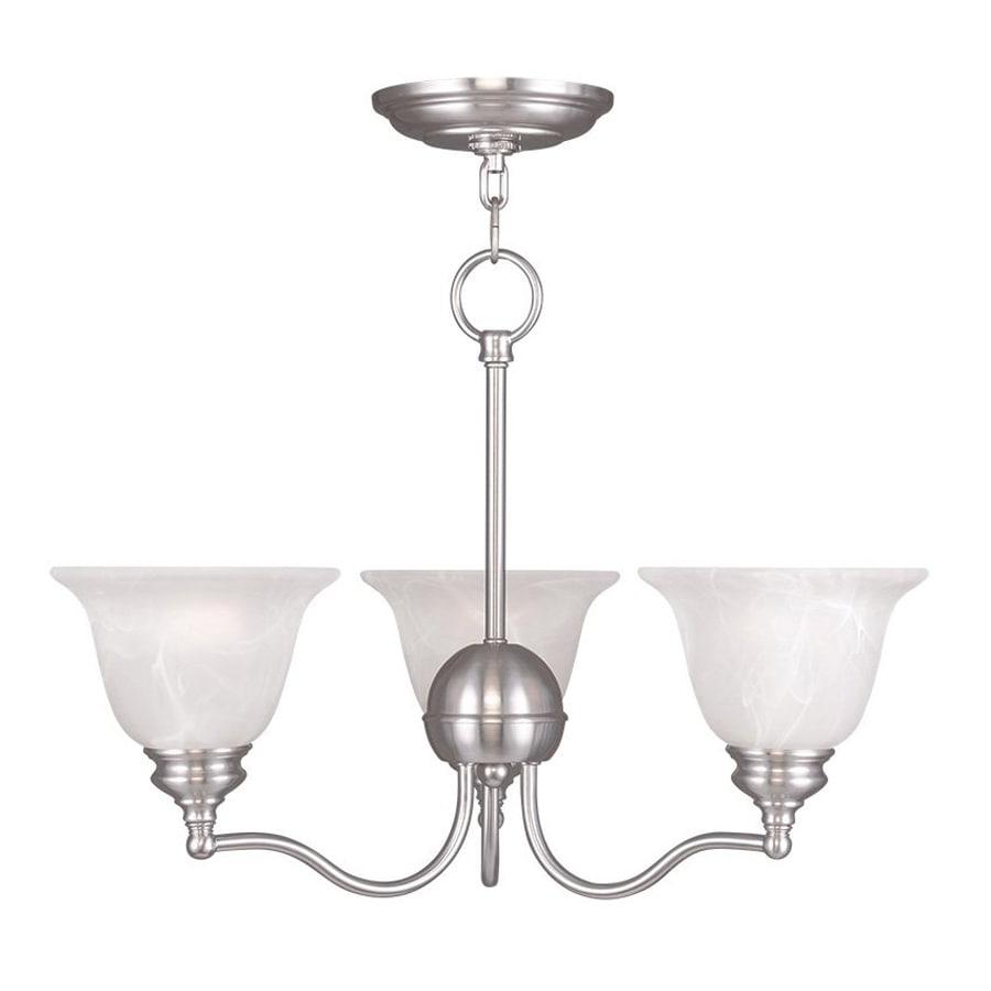 Livex Lighting Essex 20-in 3-Light Brushed Nickel Alabaster Glass Shaded Chandelier