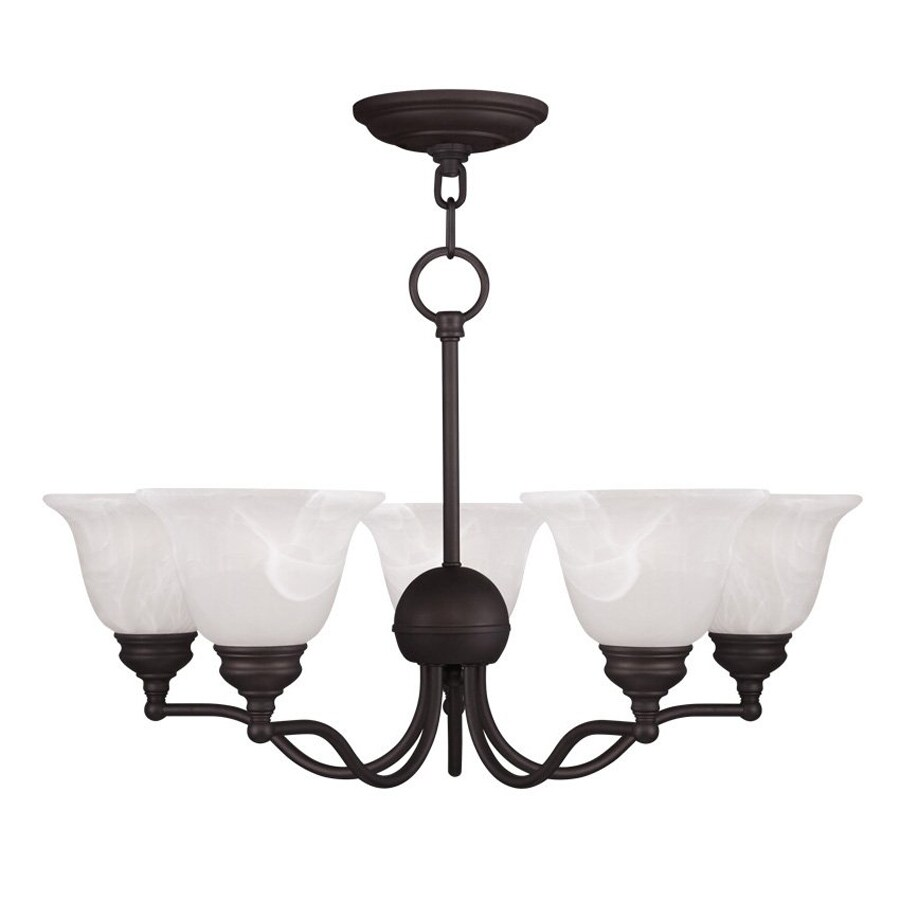 Livex Lighting Essex 24-in 5-Light Bronze Country Cottage Alabaster Glass Shaded Chandelier