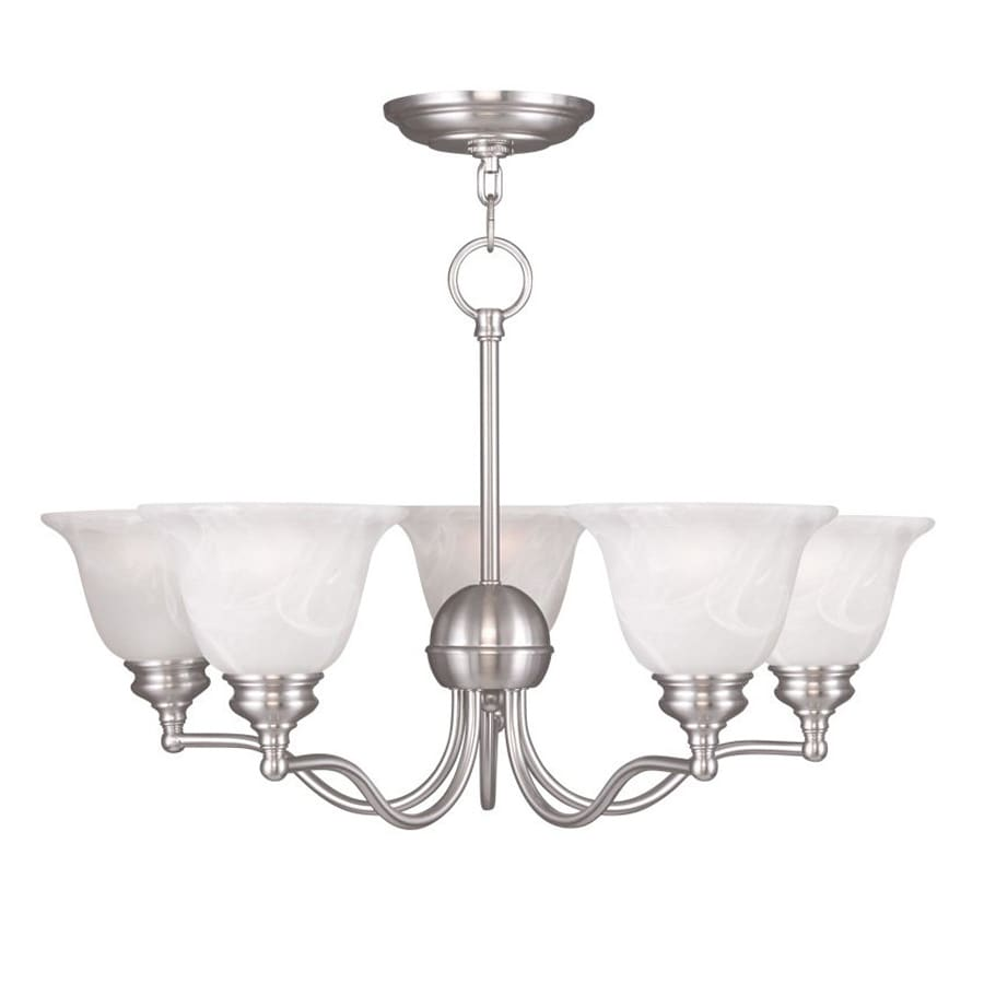Livex Lighting Essex 24-in 5-Light Brushed Nickel Alabaster Glass Shaded Chandelier