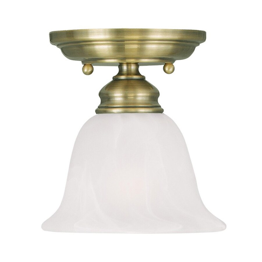 Livex Lighting Coronado 6.25-in W Antique Brass Alabaster Glass Semi-Flush Mount Light