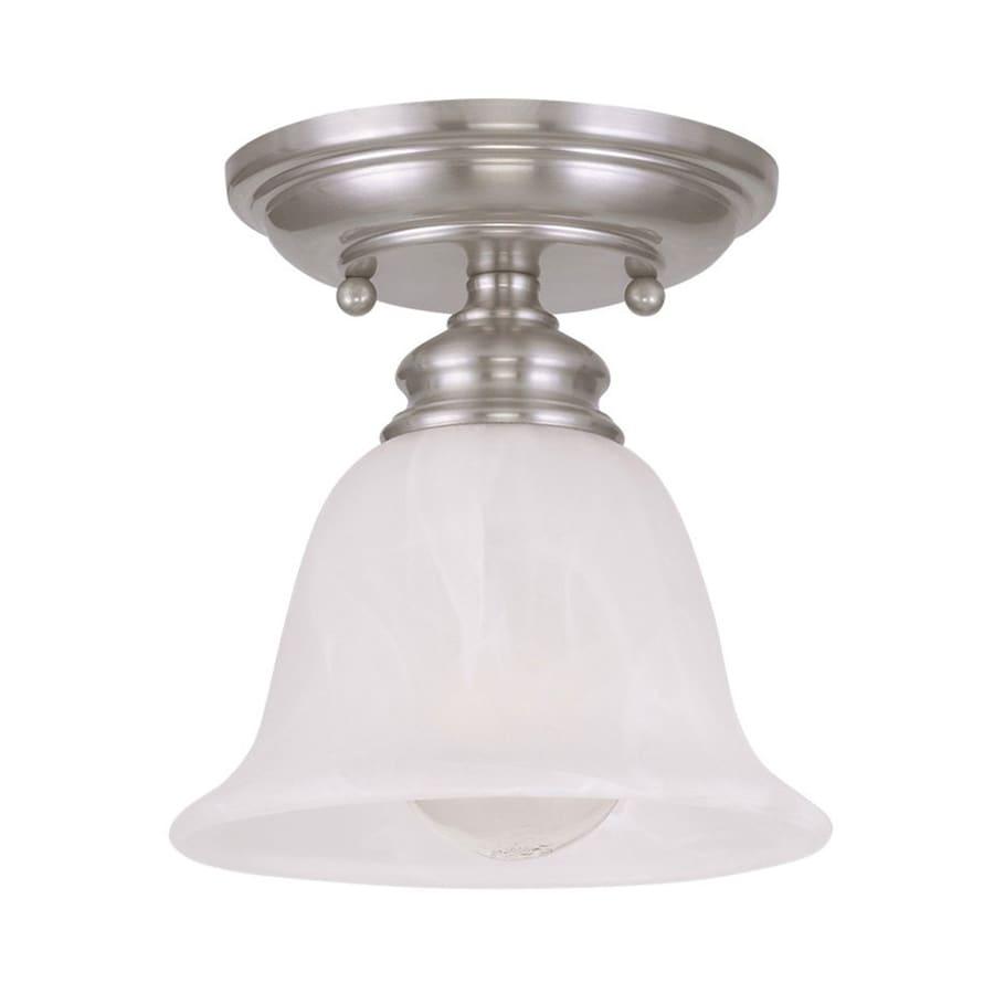 Livex Lighting Essex 6.25-in W Brushed Nickel Alabaster Glass Semi-Flush Mount Light