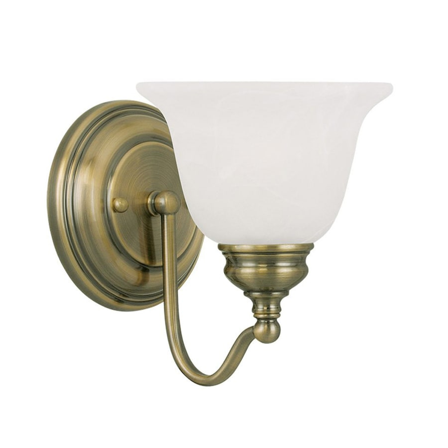 Livex Lighting Essex 6.25-in W 1-Light Antique Brass Arm Hardwired Wall Sconce