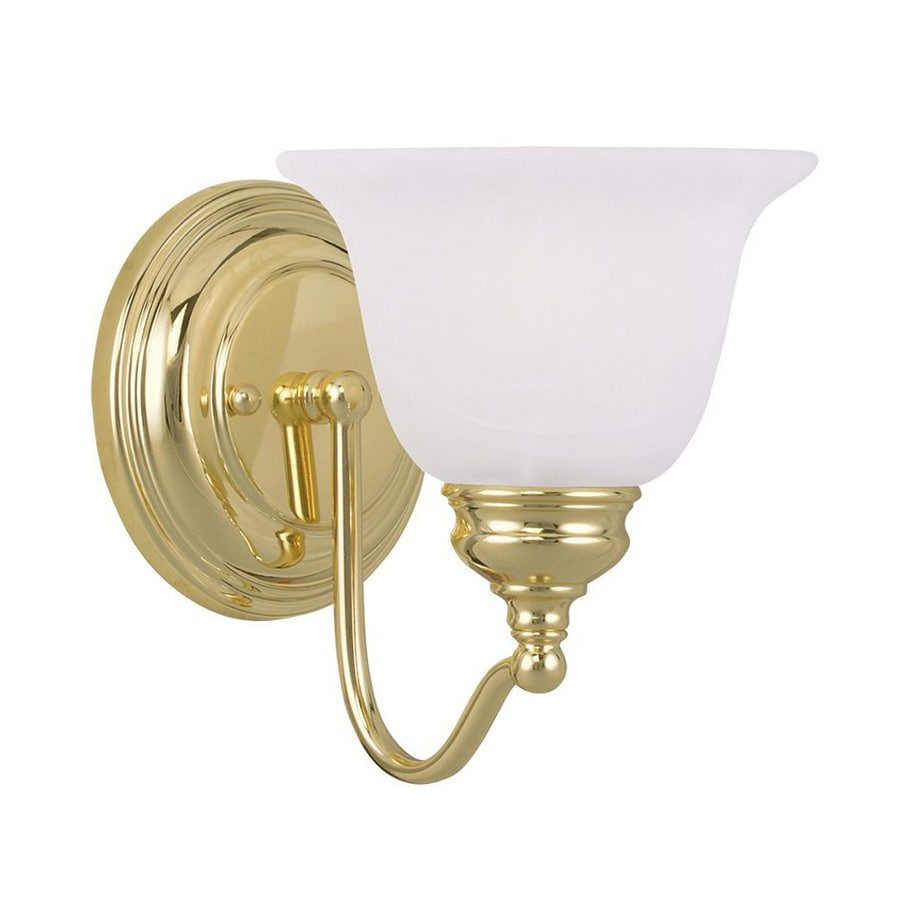 Shop Livex Lighting Essex 6.25-in W 1-Light Polished Brass Arm Wall Sconce at Lowes.com