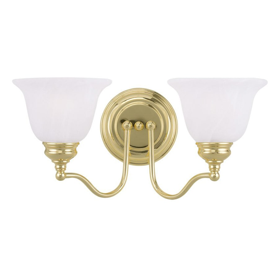 Livex Lighting Essex 15.25-in W 2-Light Polished Brass Arm Hardwired Wall Sconce