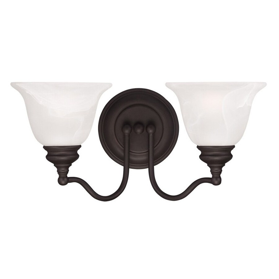 Livex Lighting Essex 15.25-in W 2-Light Bronze Arm Hardwired Wall Sconce