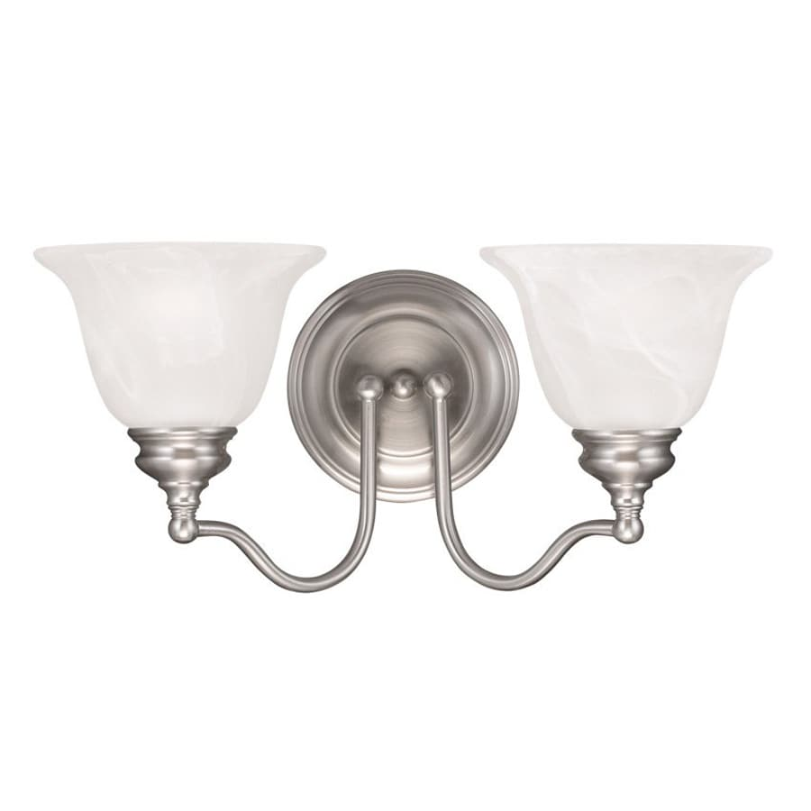 Livex Lighting Essex 15.25-in W 2-Light Brushed Nickel Arm Wall Sconce