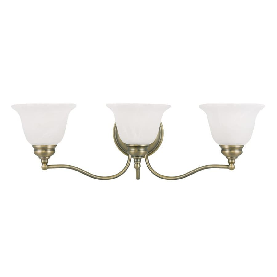 Livex Lighting Essex 24-in W 3-Light Antique Brass Arm Hardwired Wall Sconce