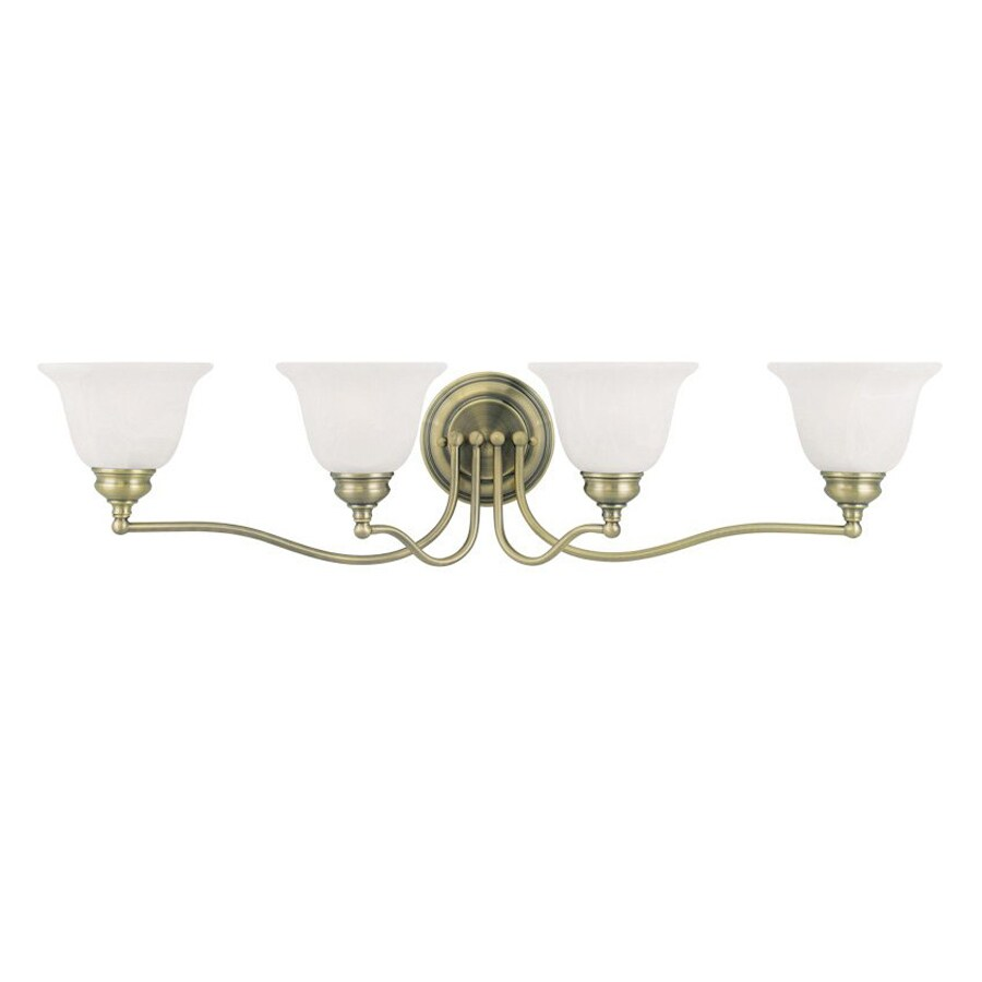 Livex Lighting Essex 32-in W 4-Light Antique brass Arm Wall Sconce