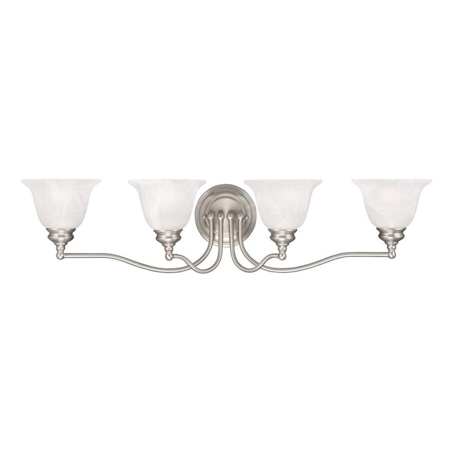 Livex Lighting Essex 32-in W 4-Light Brushed Nickel Arm Wall Sconce
