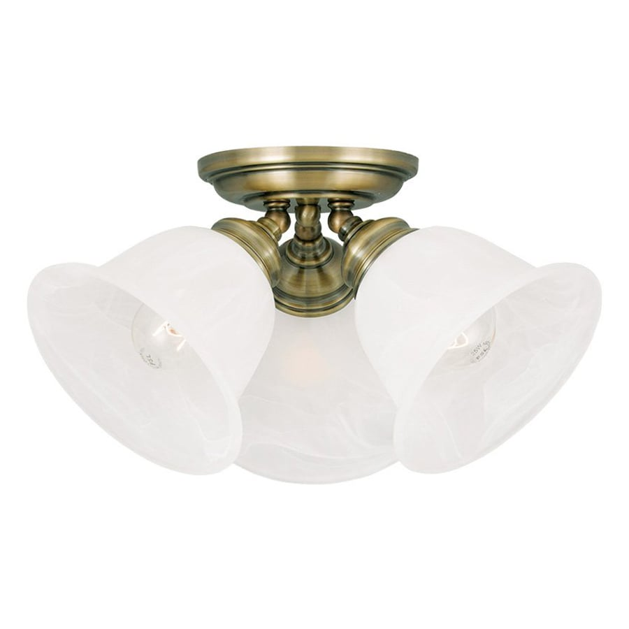 Livex Lighting Essex 14.5-in W Antique Brass Alabaster Glass Semi-Flush Mount Light