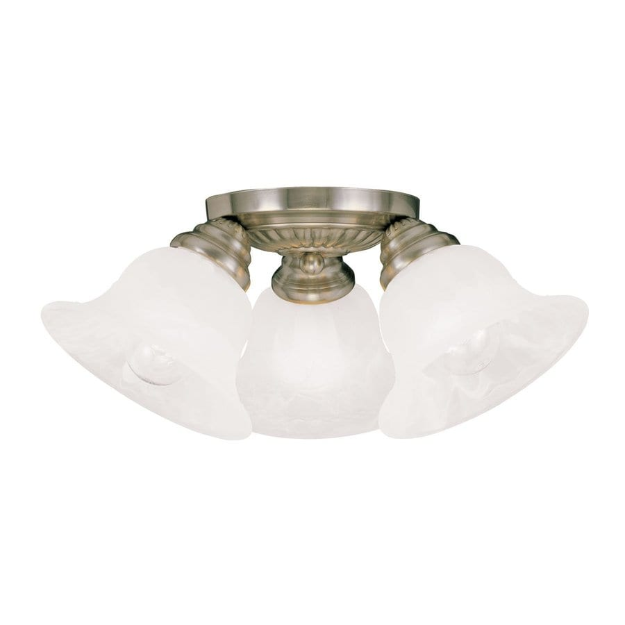 Livex Lighting Essex 14.75-in W Antique Brass Alabaster Glass Semi-Flush Mount Light