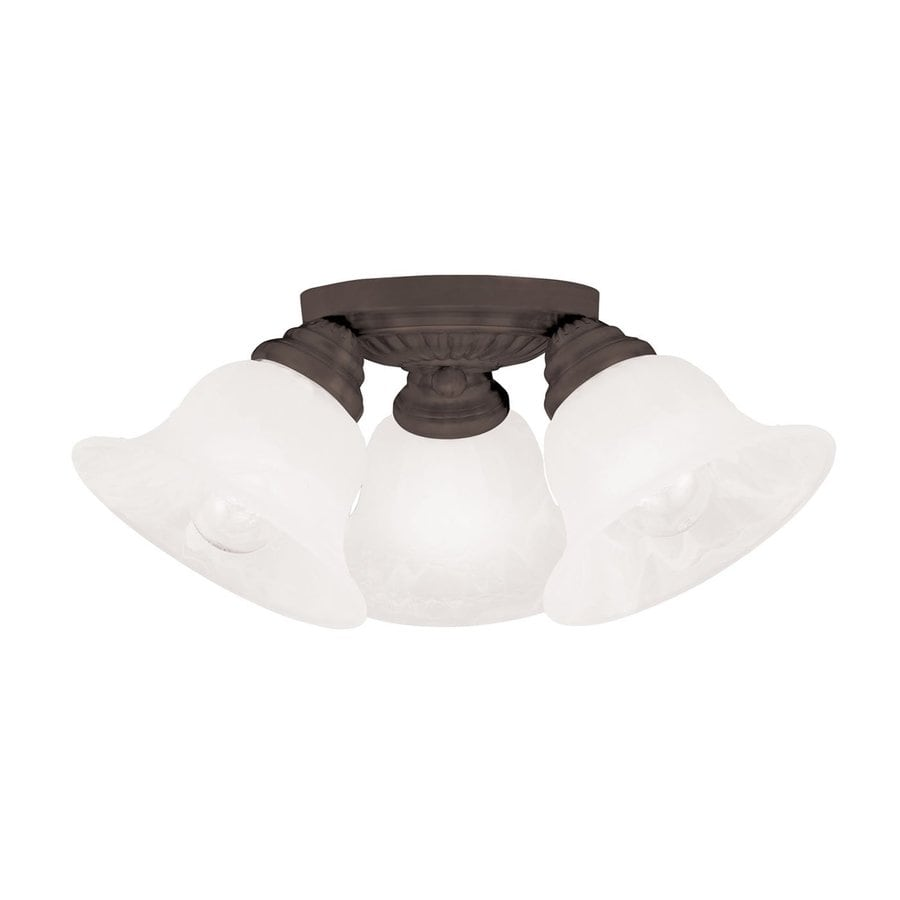 Livex Lighting Edgemont 14.75-in W Bronze Alabaster Glass Semi-Flush Mount Light