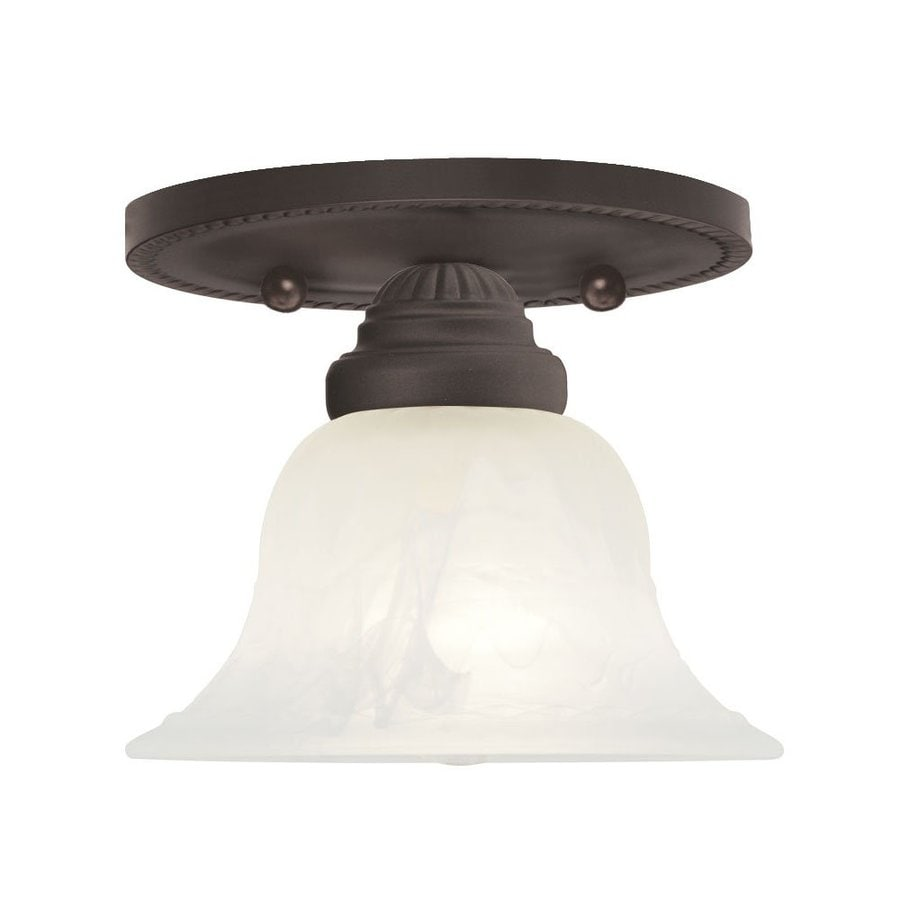 Livex Lighting Edgemont 7-in W Bronze Alabaster Glass Semi-Flush Mount Light