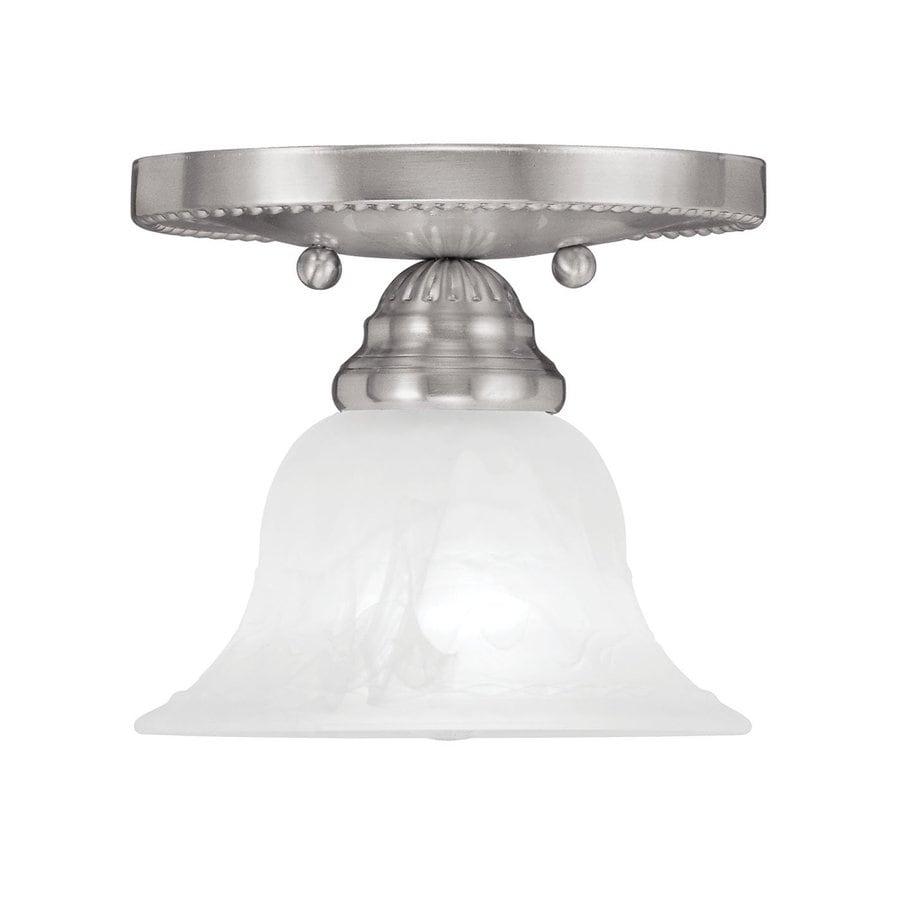 Livex Lighting Edgemont 7-in W Brushed Nickel Alabaster Glass Semi-Flush Mount Light