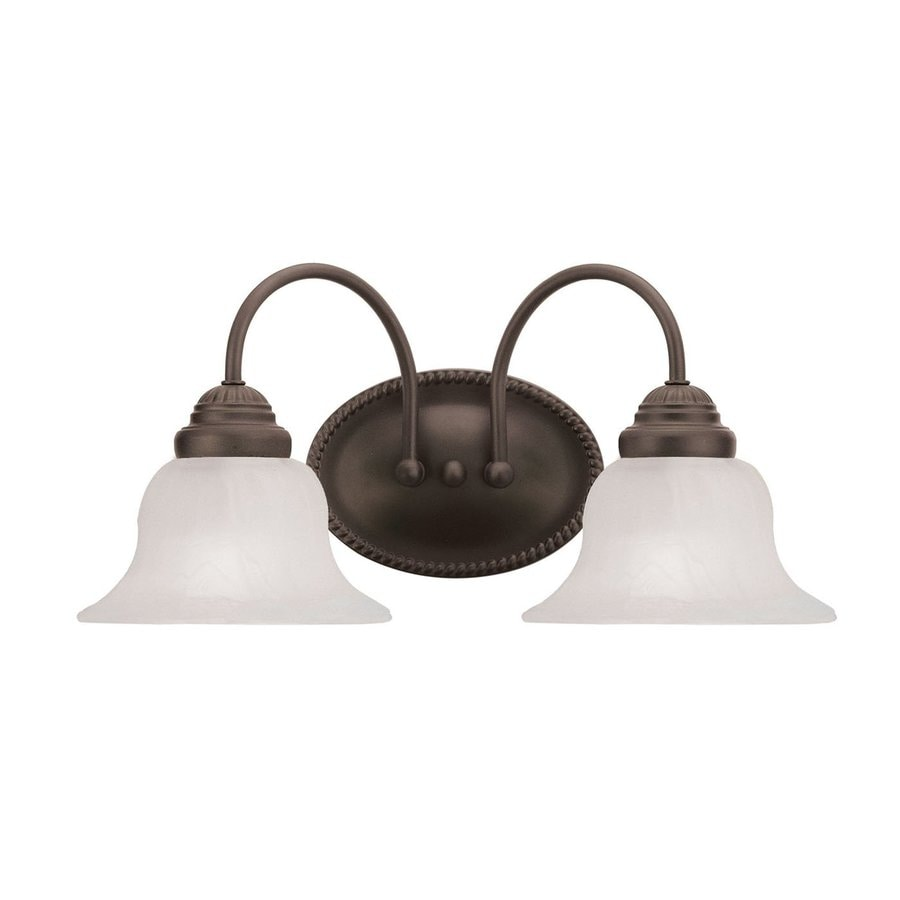 Livex Lighting Edgemont 2-Light 8-in Bronze Bell Vanity Light