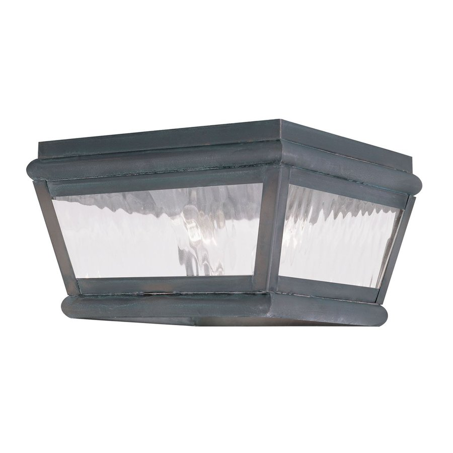Livex Lighting Exeter 8-in W Charcoal Outdoor Flush Mount Light