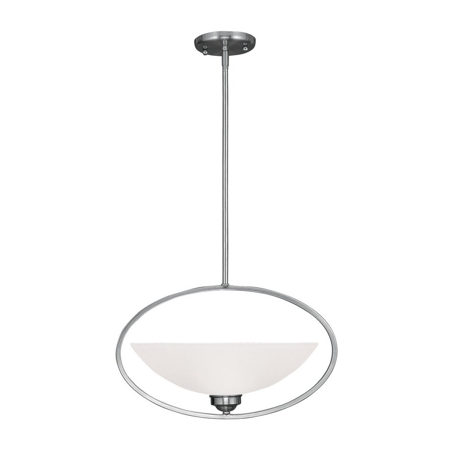 Livex Lighting Somerset 18.5-in Brushed Nickel Single Alabaster Glass Bowl Pendant