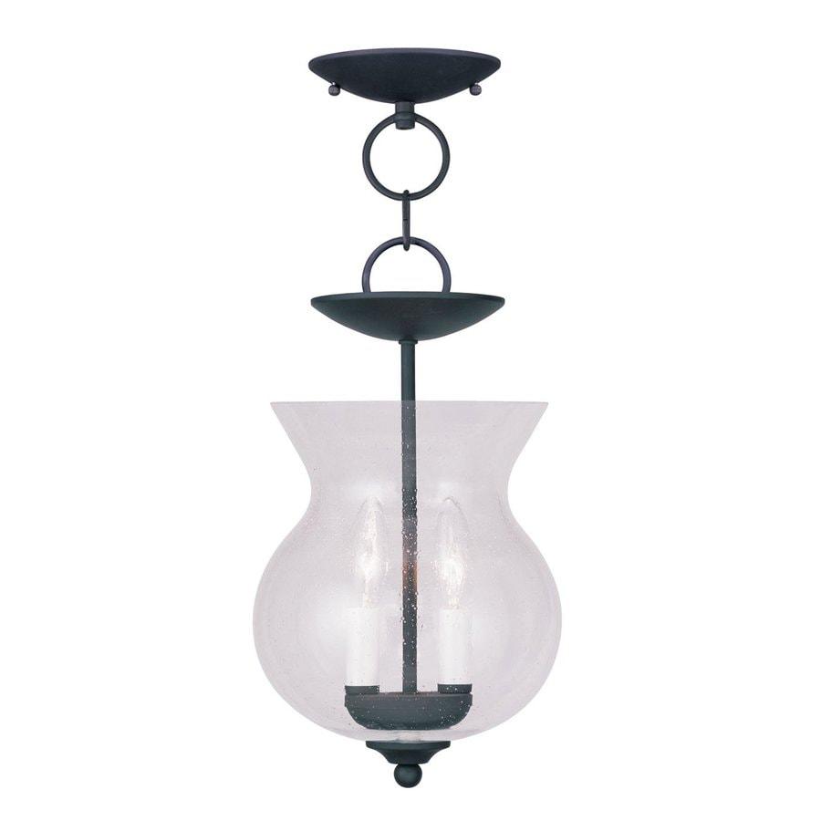 Livex Lighting Legacy 8.25-in Black Vintage Mini Seeded Glass Urn Pendant