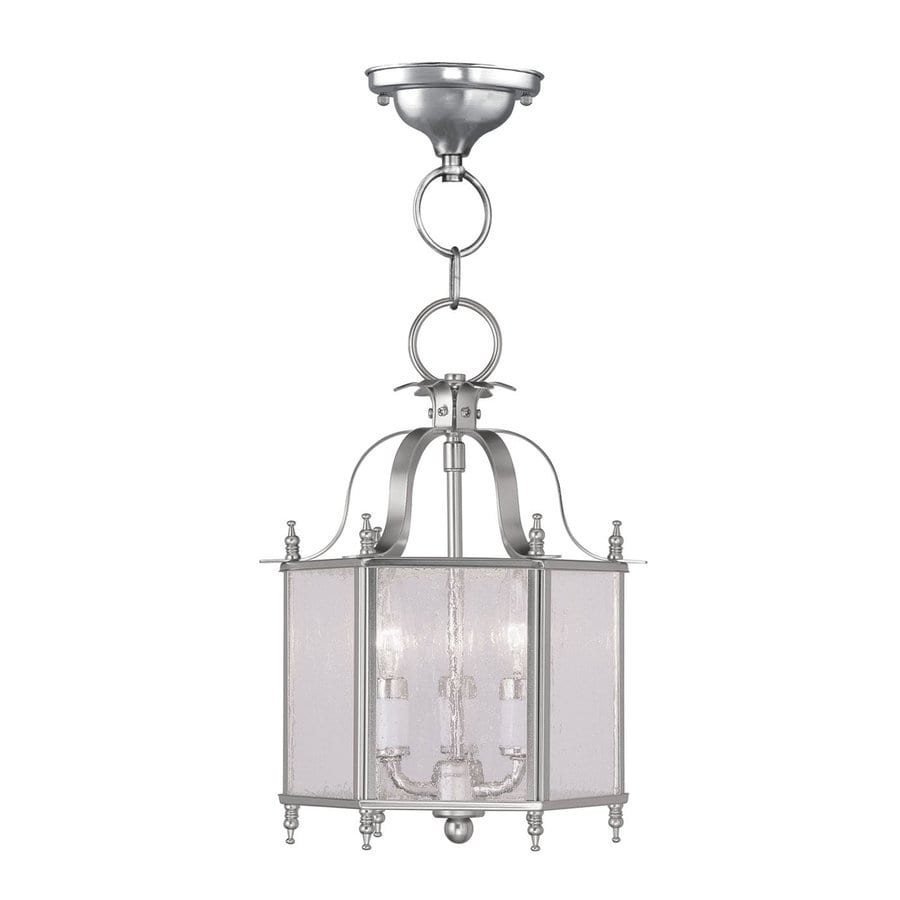 Livex Lighting Livingston 10-in Brushed Nickel Vintage Mini Seeded Glass Lantern Pendant