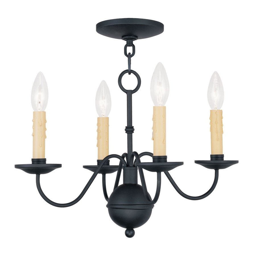 Livex Lighting Heritage 16.75-in 4-Light Black Candle Chandelier