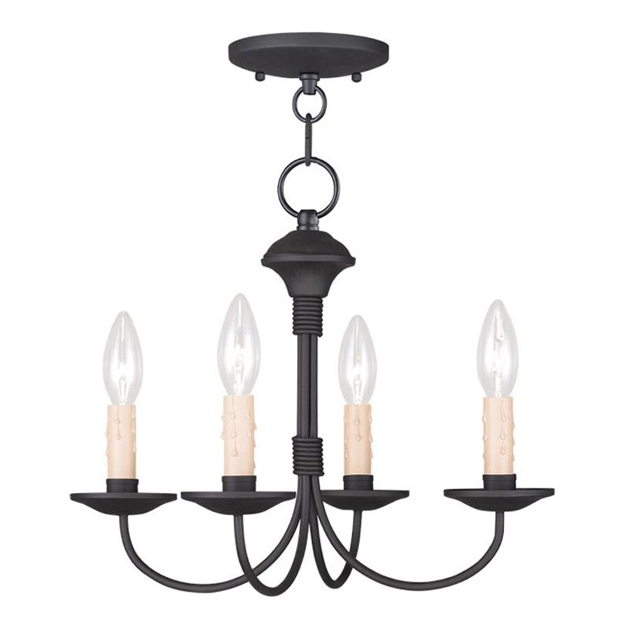 Livex Lighting Oasis 15-in W Black Shades Semi-Flush Mount Light