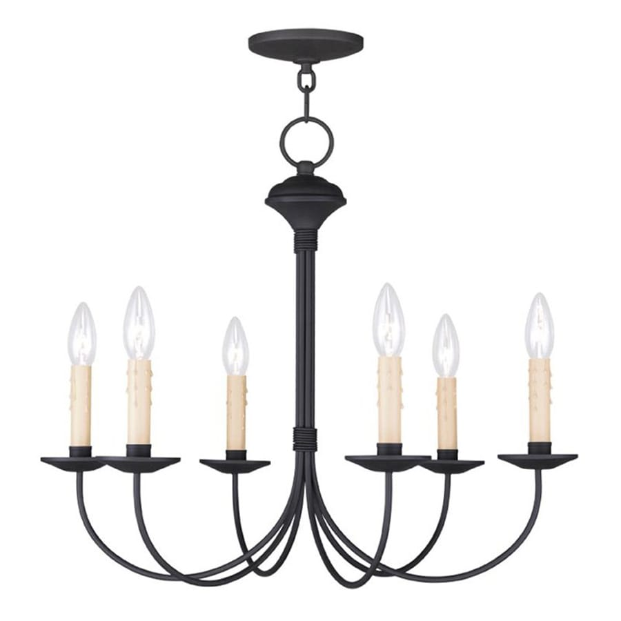 Livex Lighting Heritage 23-in 6-Light Black Candle Chandelier