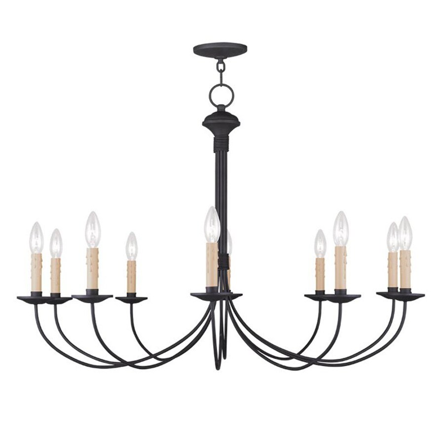 Livex Lighting Heritage 38 In 10 Light Black Candle Chandelier