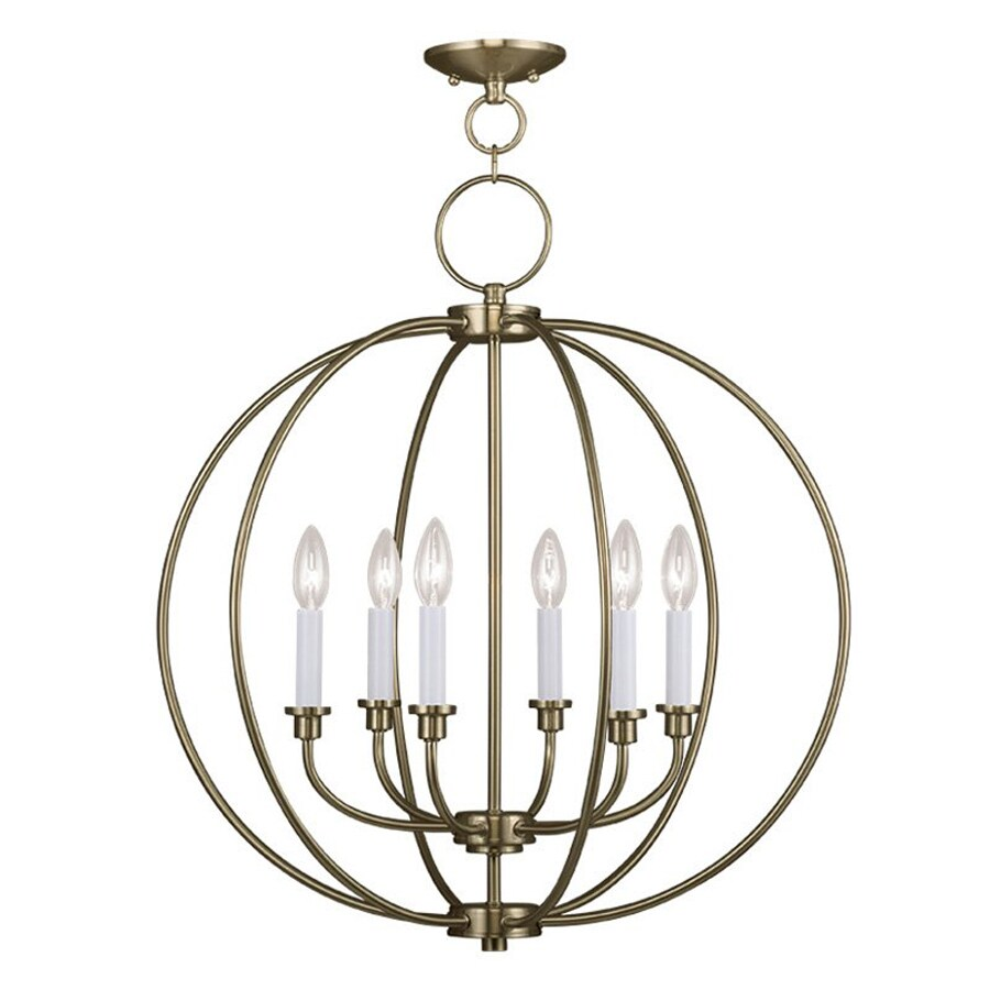 Livex Lighting Milania 25-in 6-Light Antique Brass Vintage Globe Chandelier