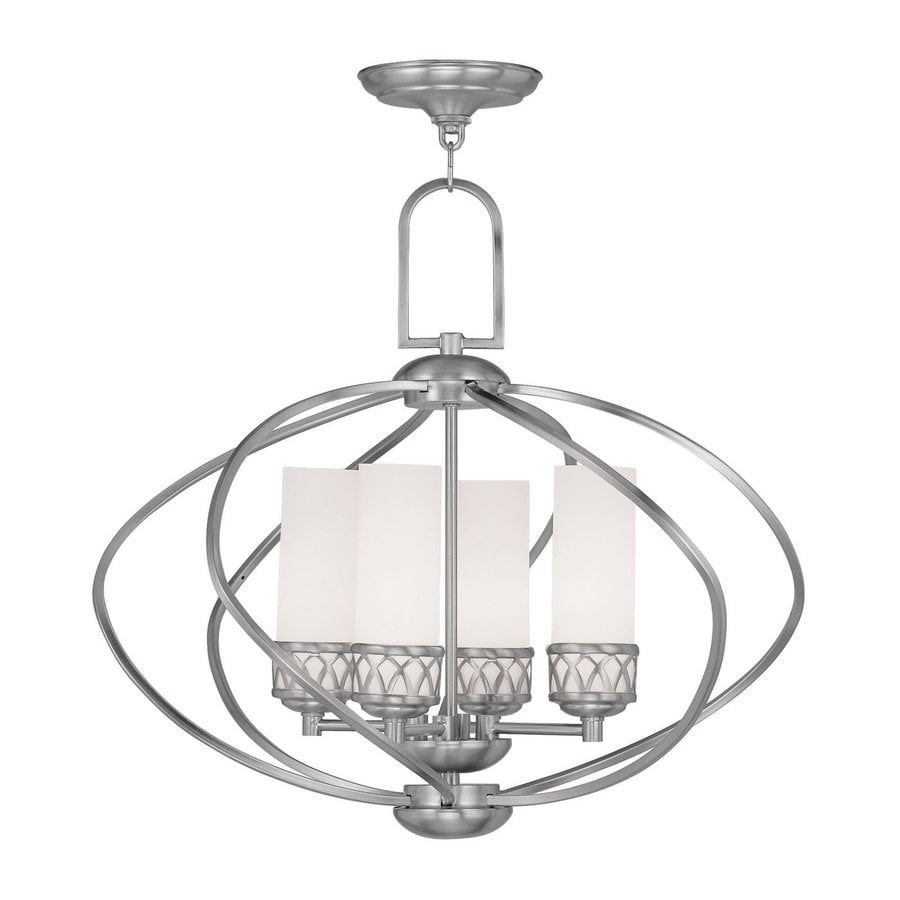 Livex Lighting Westfield 22-in 4-Light Brushed Nickel Vintage Cage Chandelier