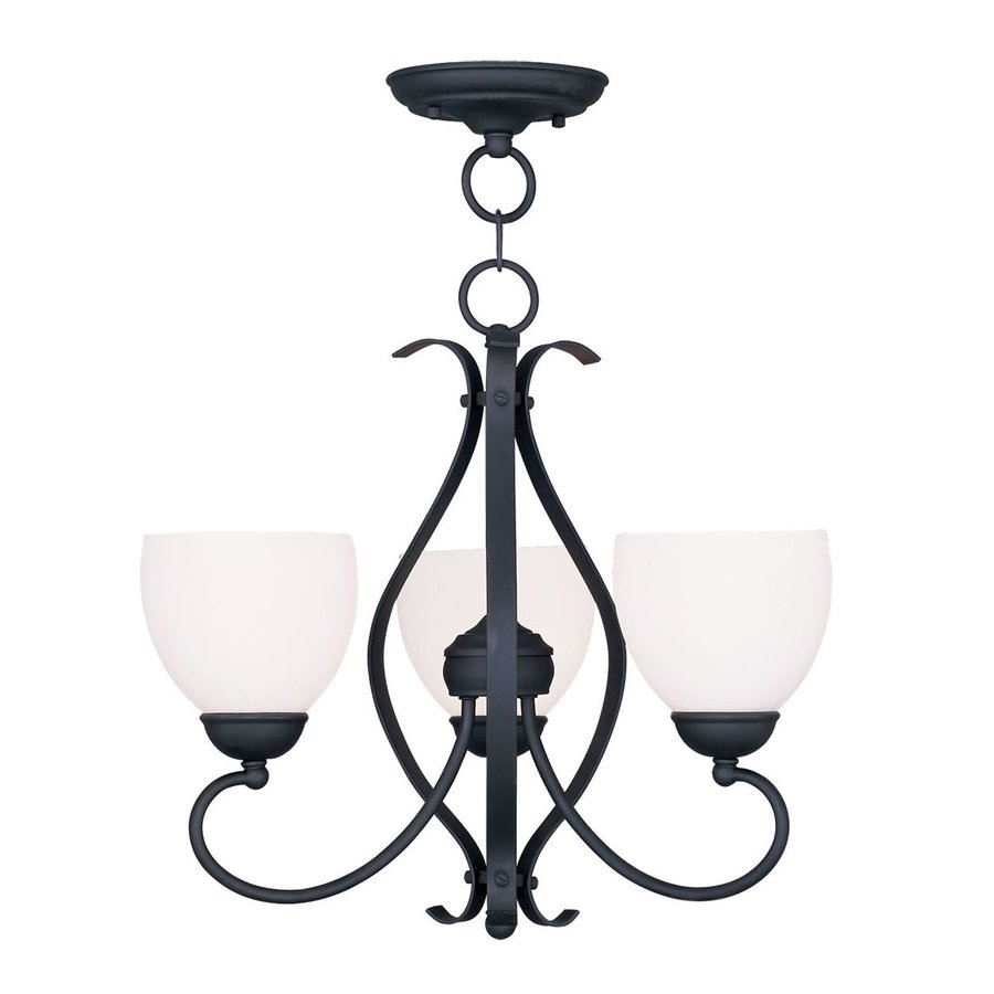 Livex Lighting Brookside 20-in 3-Light Black Wrought Iron Shaded Chandelier