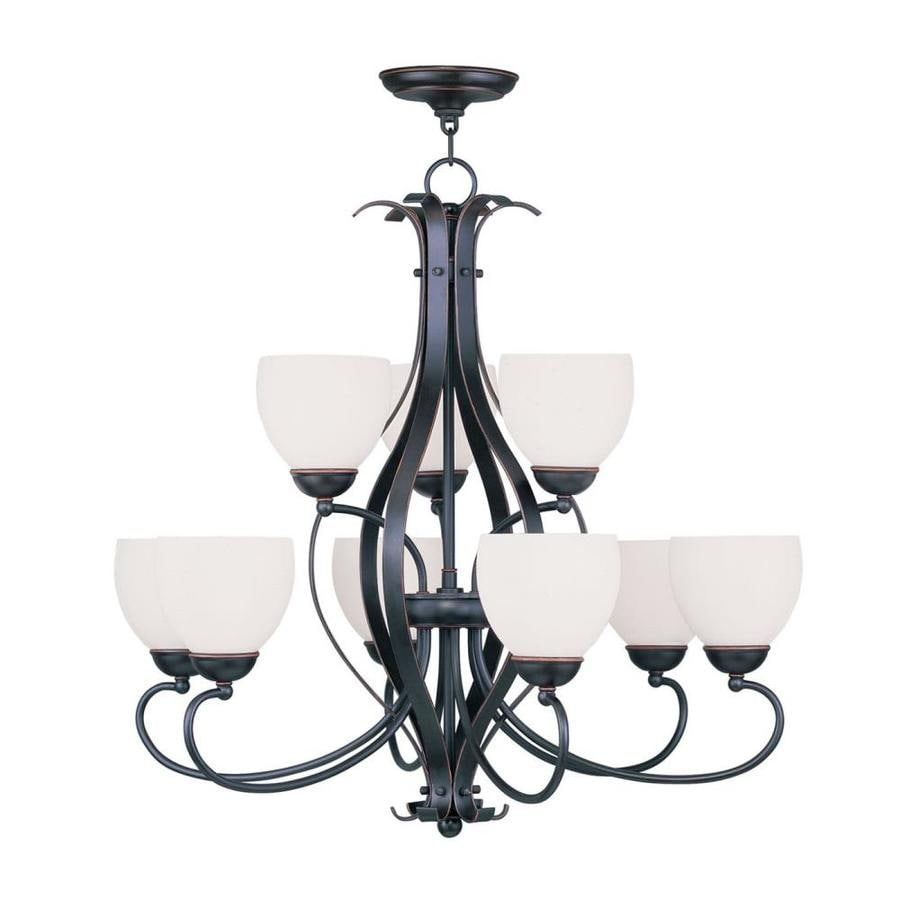 Livex Lighting Brookside 30-in 9-Light Olde bronze Wrought Iron Shaded Chandelier